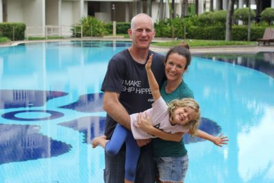 Colin Clapp, Elly McGuinness, Little Miss poolside in Penang
