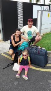 Colin, Elly, Little Miss travelling light from Singapore to Malaysia