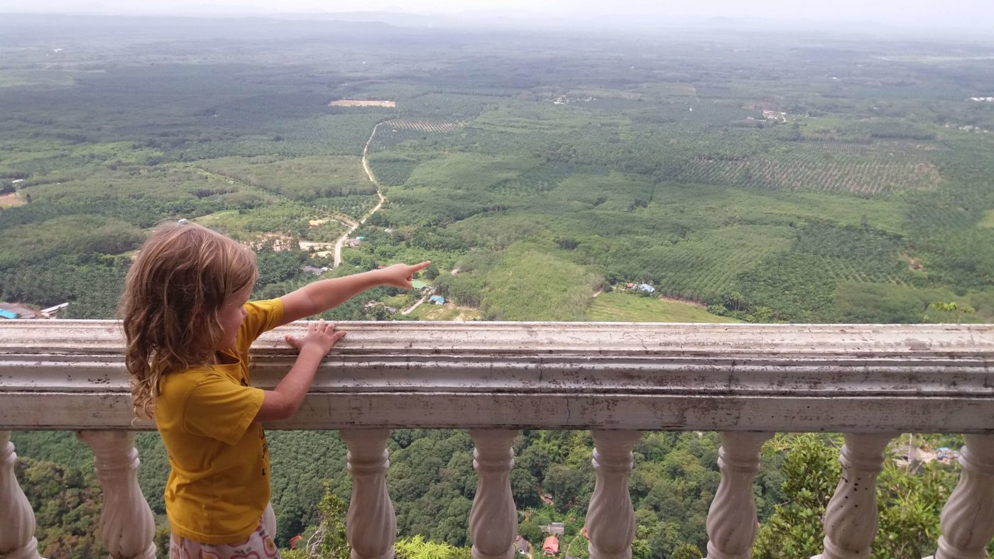 Little Miss & panoramic view, Tiger Cave temple, Krabi Province, Thailand