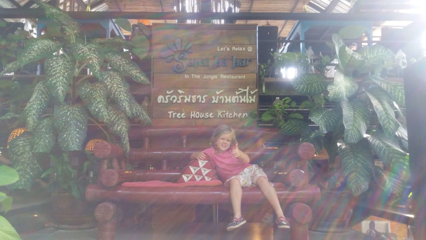 Little Miss thumbs up, treehouse cafe, Krabi Province, Thailand