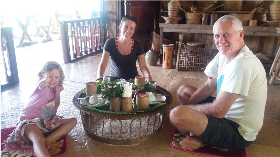 Best places to visit in Southeast Asia-Luang Prabang-The bamboo experience- Ayla, Elly, Colin at lunch