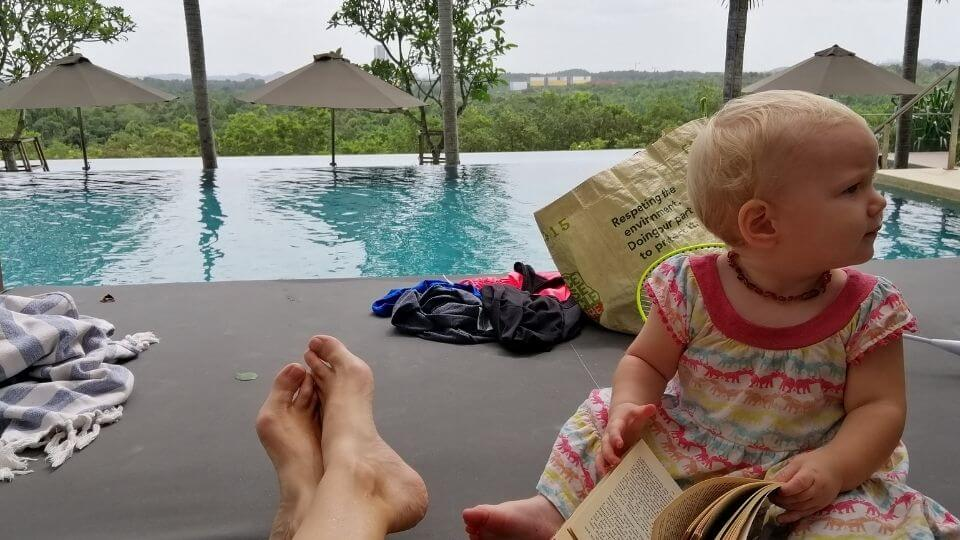 family friendly attractions in Johor Bahru-condo poolside relaxation Romy