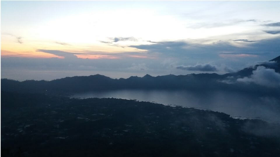 Lake view from top of Mount Batur in Bali