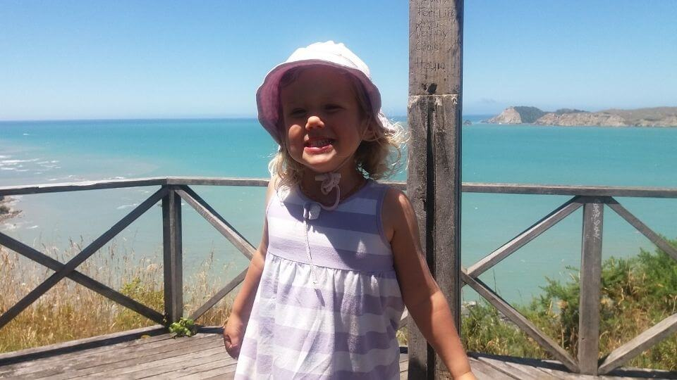 Day trip to Tolaga Bay-lookout walkway-Ayla at top