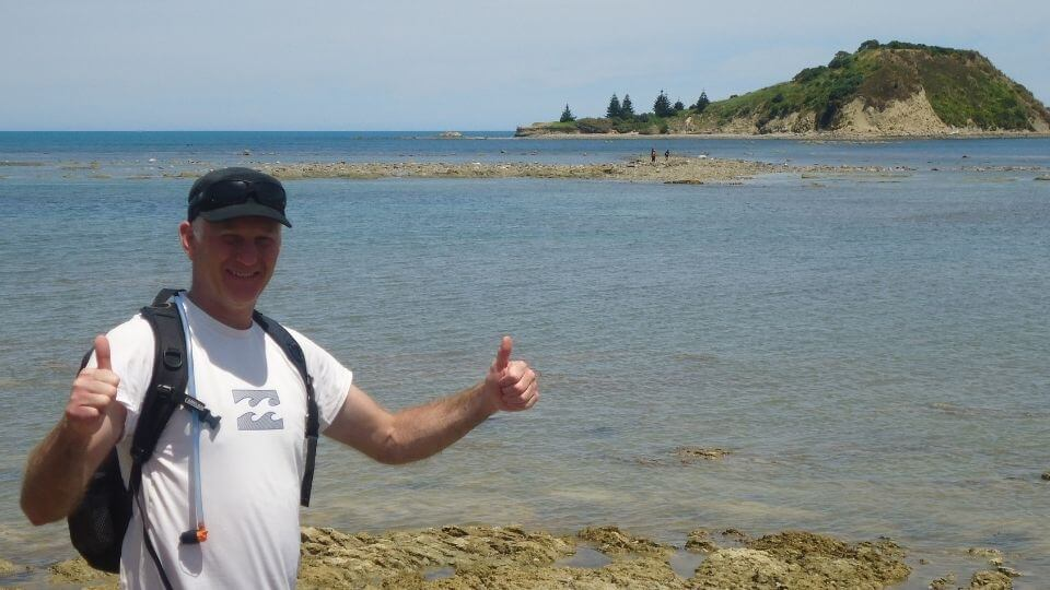 Things to do in Gisborne-walk to Sponge Bay Island-Colin thumbs up after walk