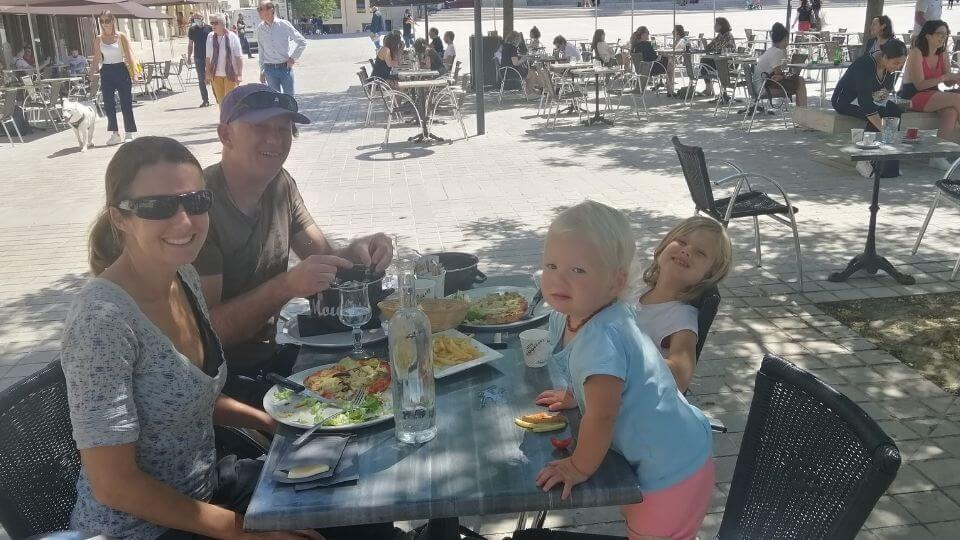 Things to do in Poitiers-main square al fresco dining-Elly, Colin, Ayla, Romy