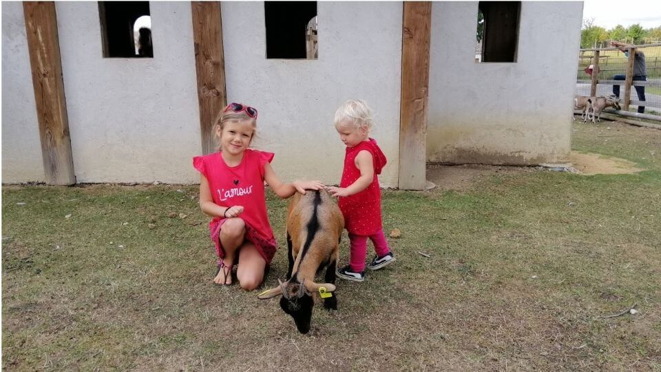 Things to do in Poitou Charentes France-DefiPlanet-Ayla and Romy with goat