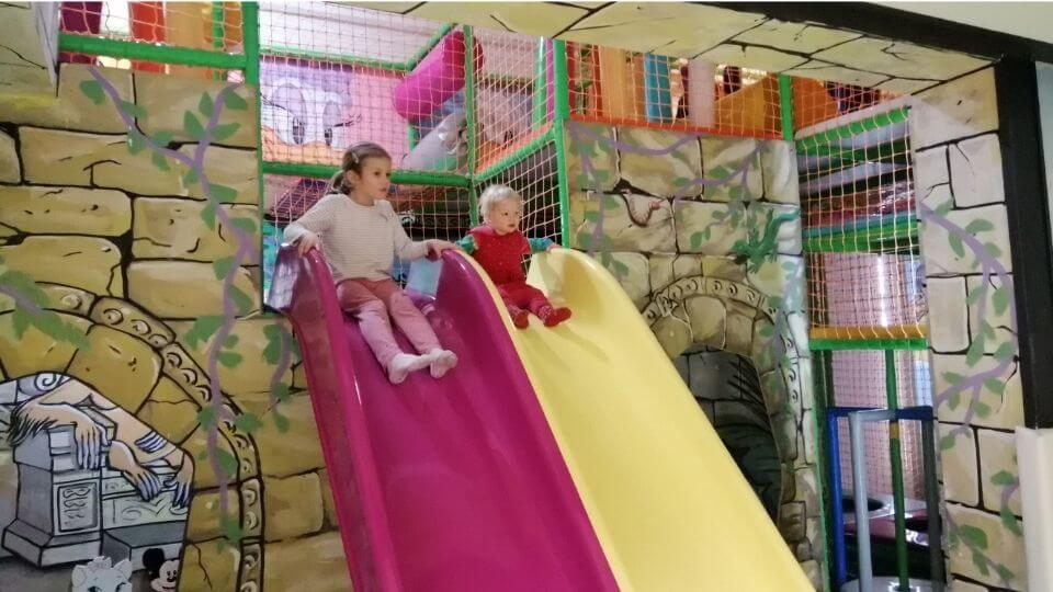 Things to do in Belgrade-Rajiceva Indoor Playground-Ayla and Romy at top of slides