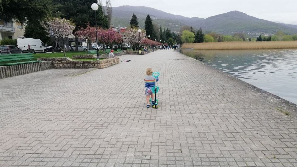 Ohrid Town Lakefront Promenade-Romy riding scooter