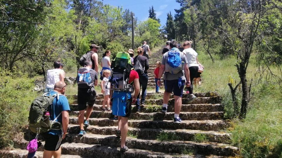 Things to do in Ohrid-hike to Ramne village-worldschooling group at the start of the trail
