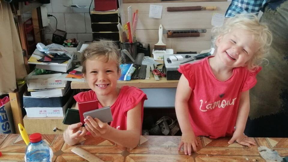 Things to do in Ohrid-make your own notebooks at the Knigovez workshop-Ayla and Romy