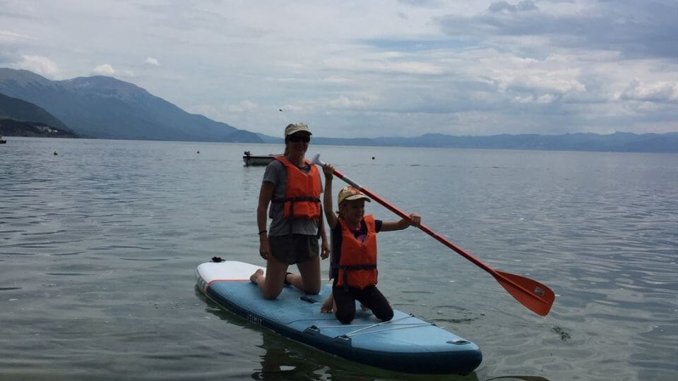 Things to do in Ohrid-stand up paddle boarding on Ohrid lake-Elly and Ayla