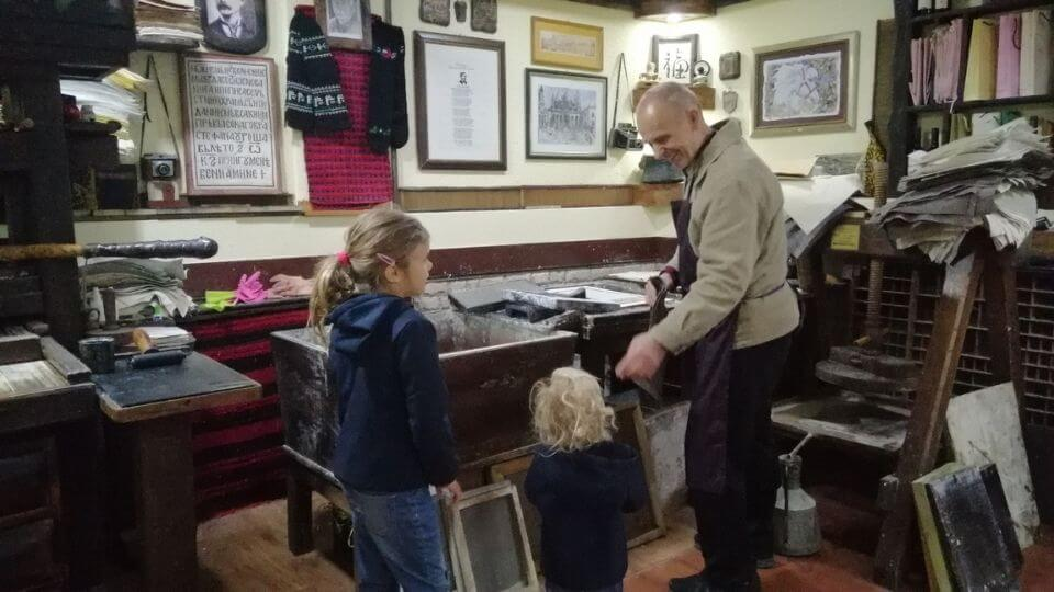 Things to do in Ohrid-visit the National Workshop for handmade paper in the old town-Ayla and Romy-paper makingdemonstration