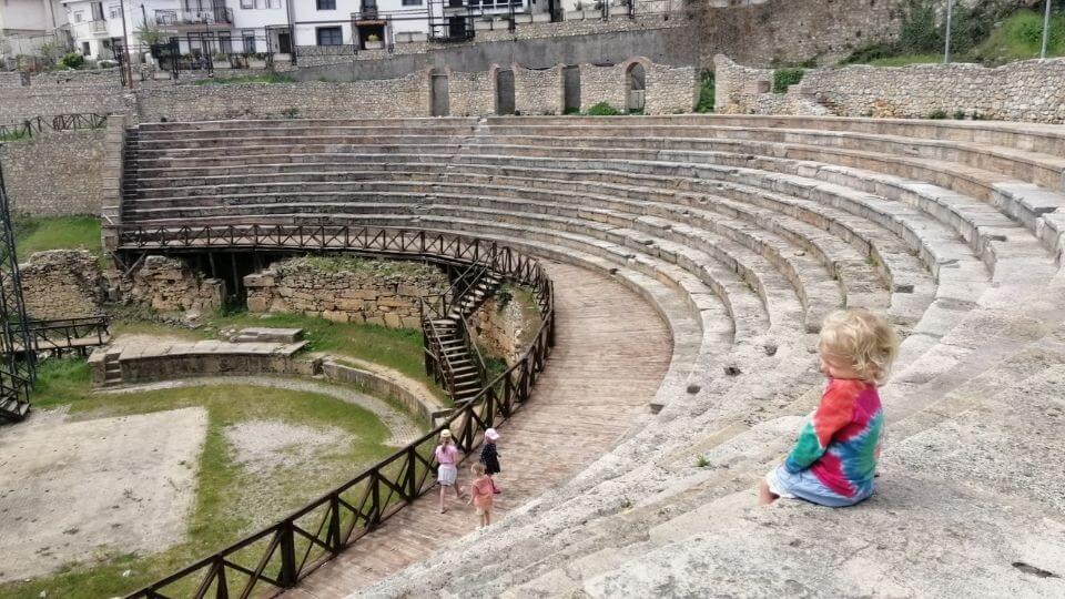 Things to do in Ohrid-wander the old town-Romy at the amphitheater