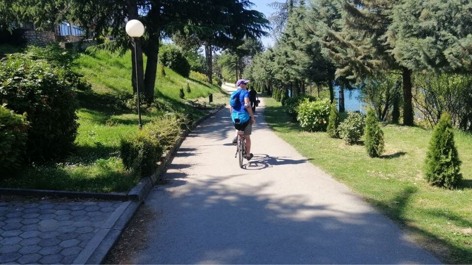 Venturing further along Ohrid town lakefront promenade-Colin cycling